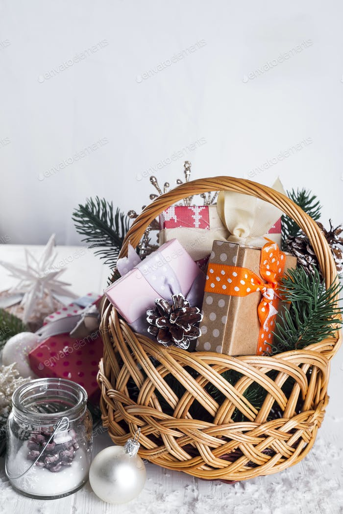 Christmas Gifts on Wooden Background.