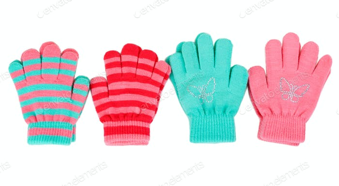 Striped baby gloves