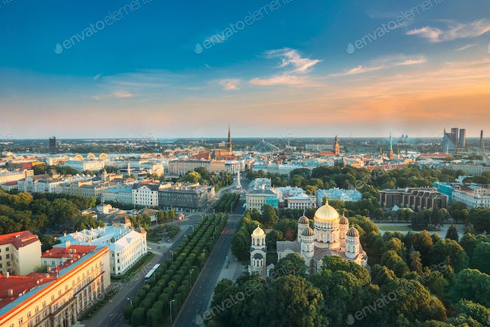 Riga, Latvia. Riga Cityscape. Top View Of Buildings Ministry Of Justice, Supreme Court, Cabinet Of