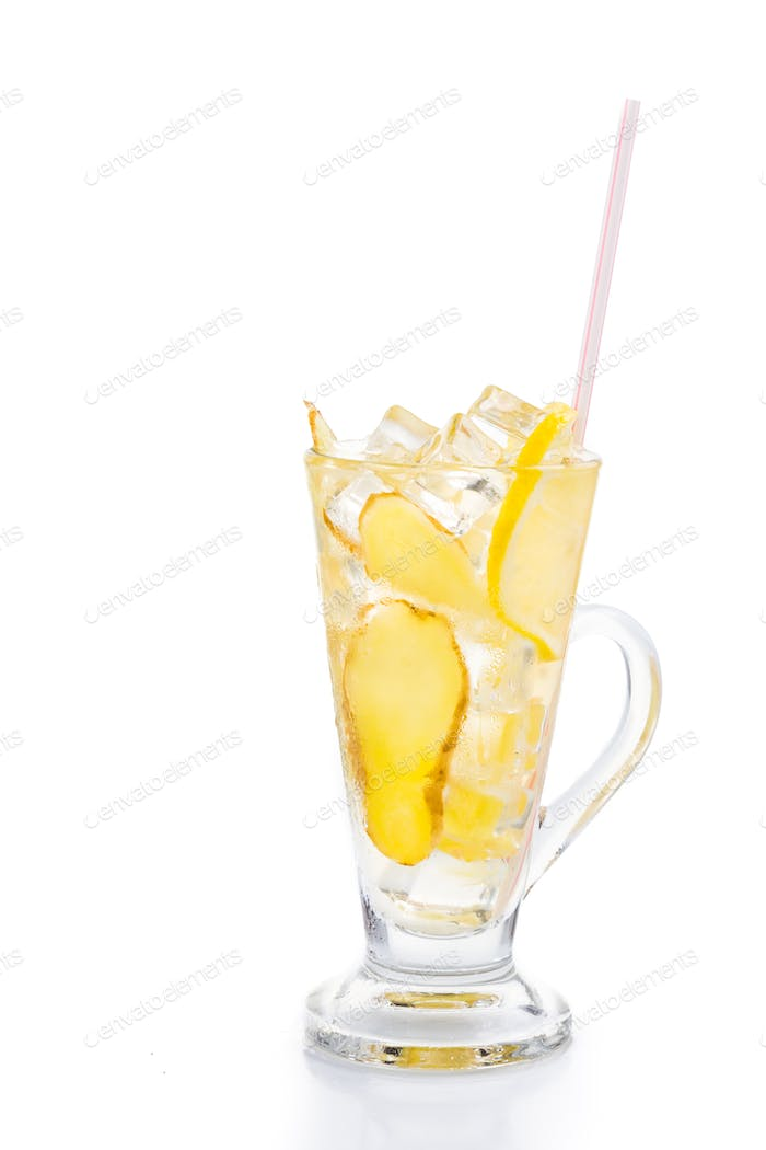 Refreshing ice cold ginger lemon tea in transparent glass in vertical format