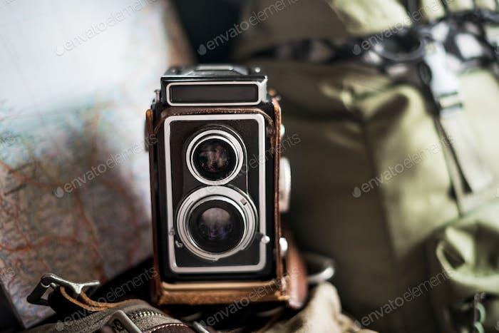 Antique Camera Reel Travel Concept