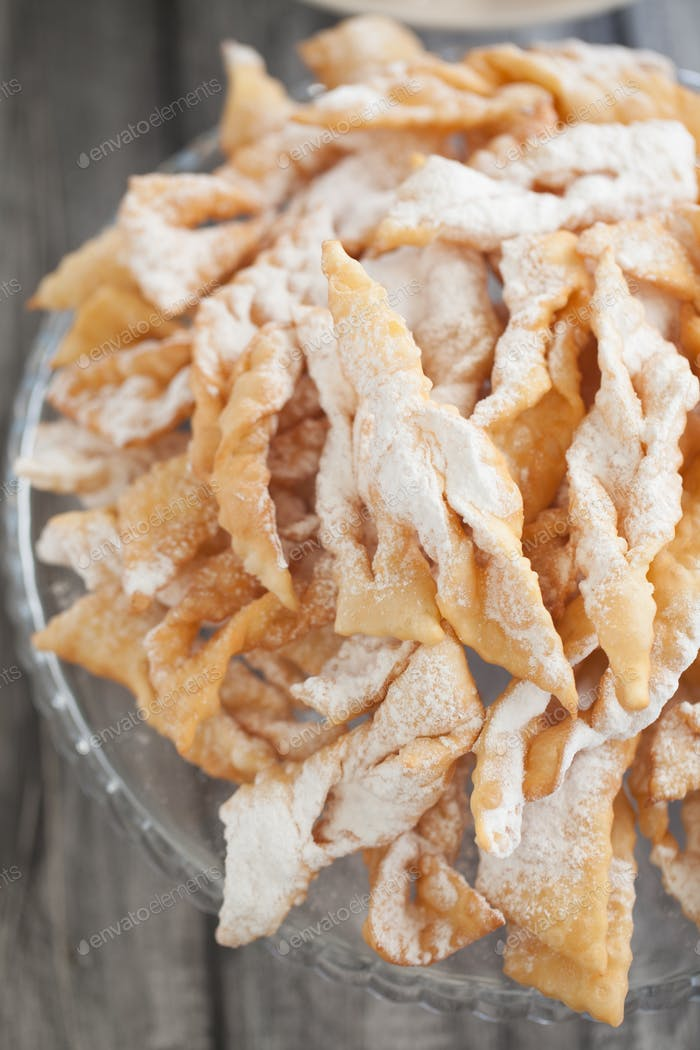 Angel wings biscuits, a traditional European sweet dish for carn