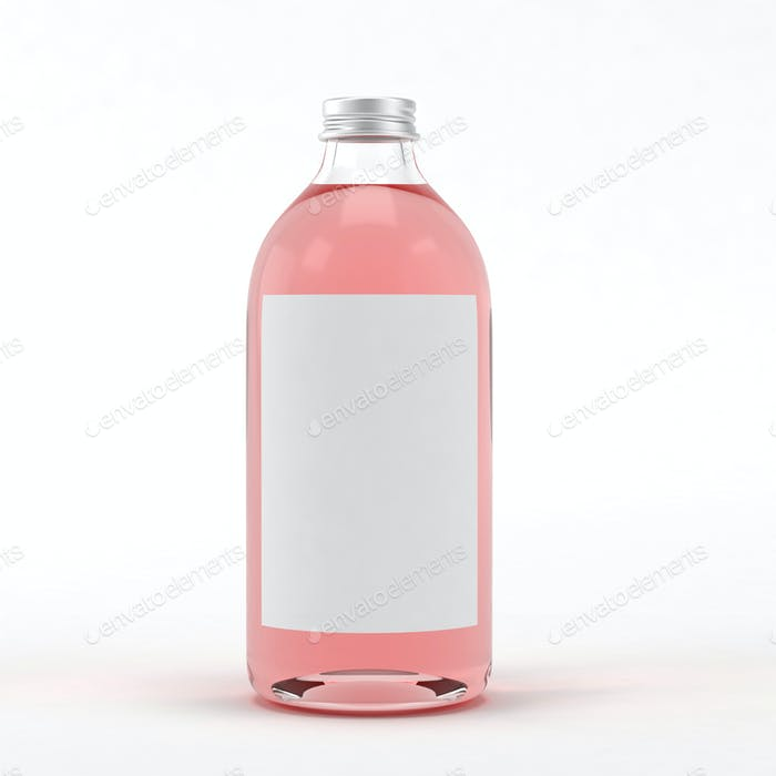 Glass bottle with liquid on white background. 3D illustration