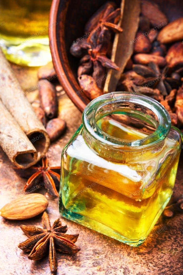 Essential cinnamon oil in bottle