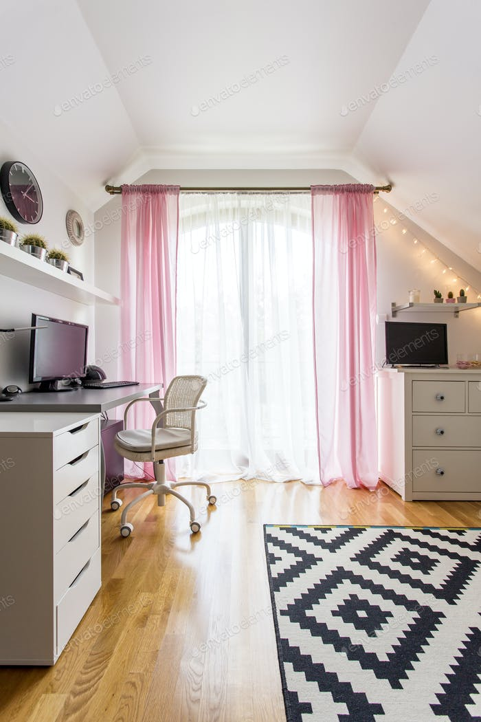 Teenage girl's room with white funiture