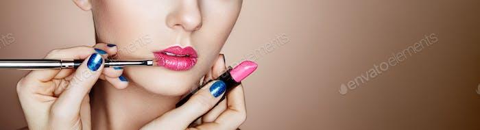 Thumbnail for Makeup artist applies pink lipstick