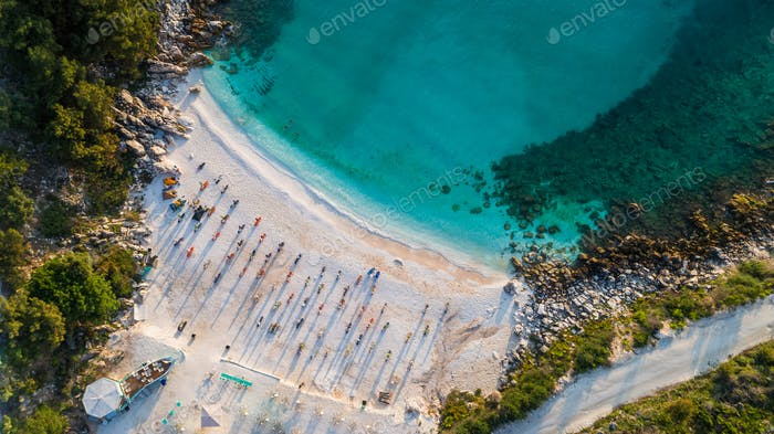 Marble beach (Saliara beach). Thassos island, Greece