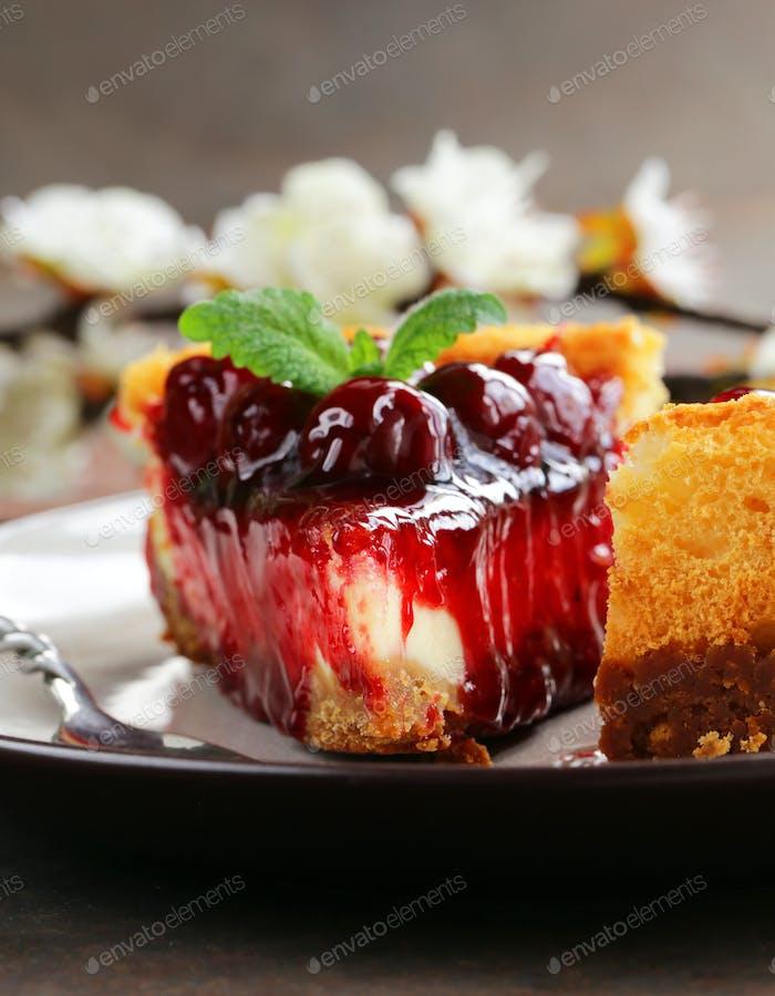 Piece Of Cherry Cheesecake