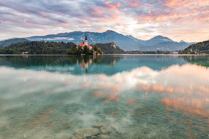 Beautiful Lake Bled in Slovenia and Church on Island. Romantic S