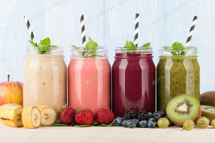 Smoothies, fruits and berries