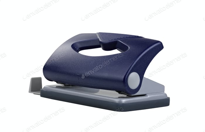 Blue office paper hole puncher, clipping path