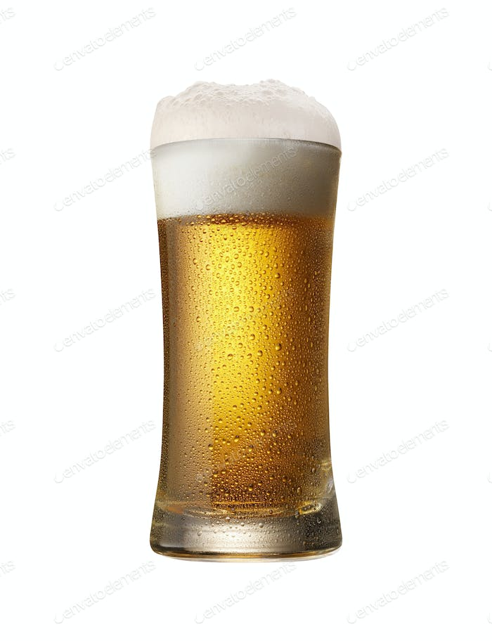 Glass of beer isolated on a white