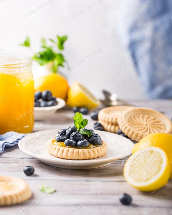 Zitronenquark Törtchen mit frischen Blaubeeren