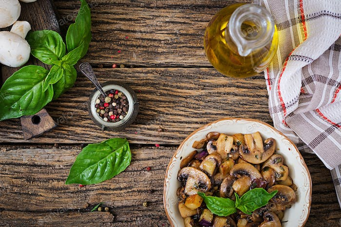 Saute with mushrooms, eggplant, aubergines and basil