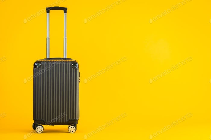 Black color luggage or baggage bag use for transportation travel