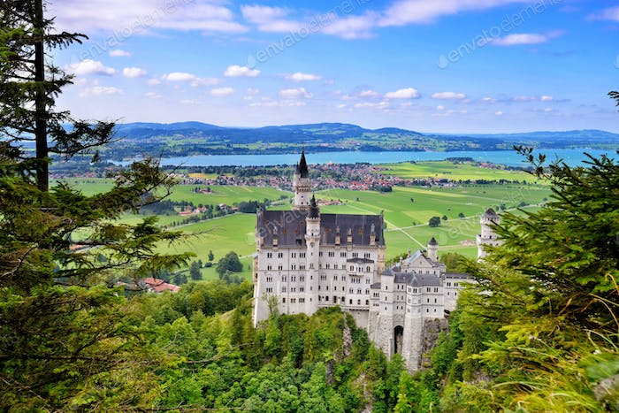 Neuschwanstein Castle the famous castle in Germany located in Fu