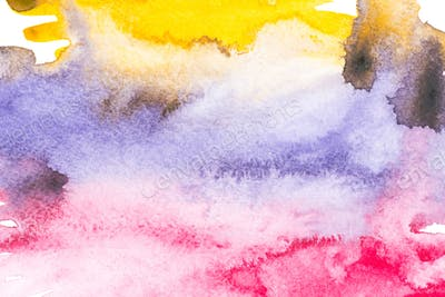 Abstract painting with colorful paint blots on white