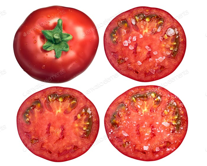 Marglobe tomatoes whole sliced salted, top, paths