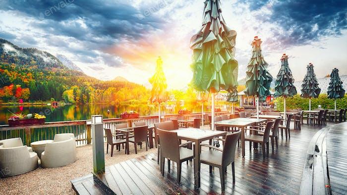 Autumn scene at small restaurant in Grundlsee lake