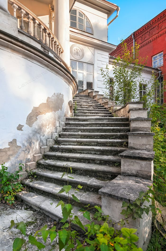 Old stone mansion staircase