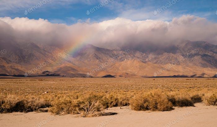 Rainbow Storm Brewing Rain Falling Sierra Nevada Range
