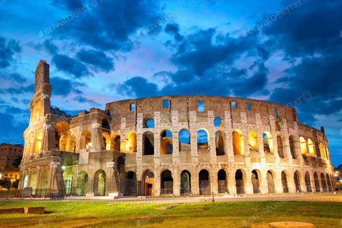 Colosseum or Coliseum in Rome at dusk, Italy
