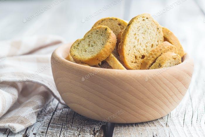 Crusty bread bruschetta.