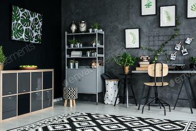 Studio flat with plants