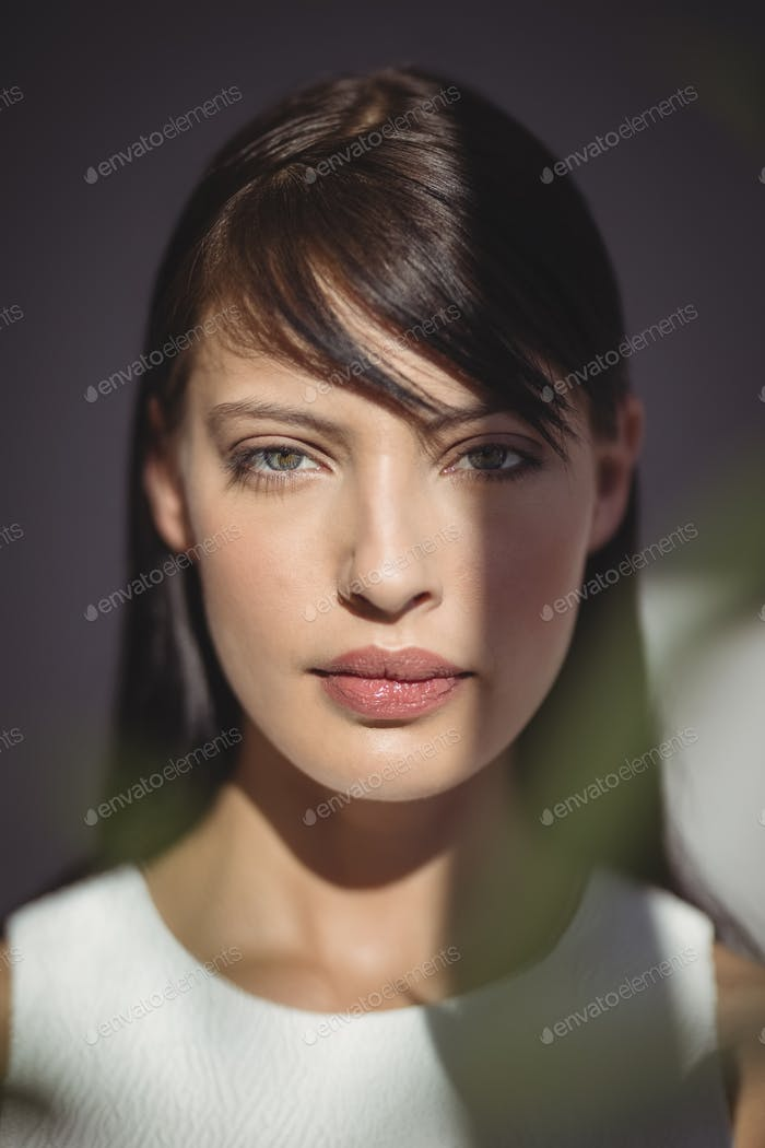 Beautiful woman looking at camera in office