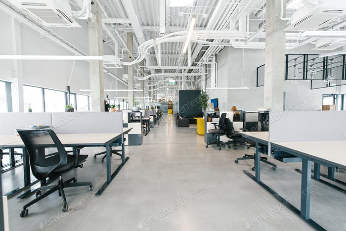 Contemporary interior of open space office