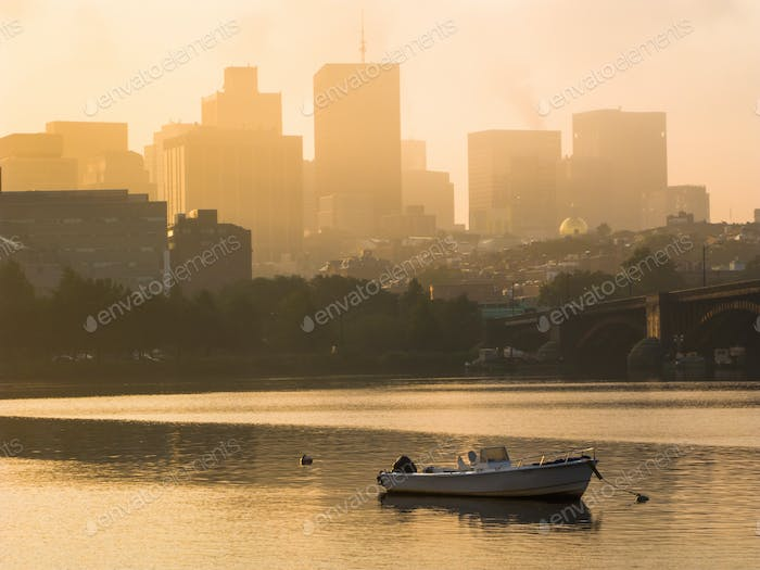 Motorboats anchored in the Charles River in Boston