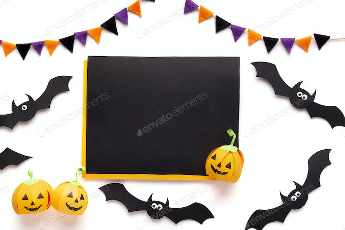 Chalk board with blank space for greetings on halloween
