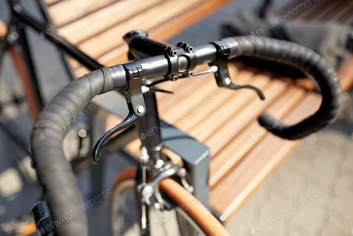 close up of fixed gear bicycle on street