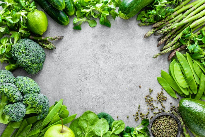 Healthy vegetarian green food concept background
