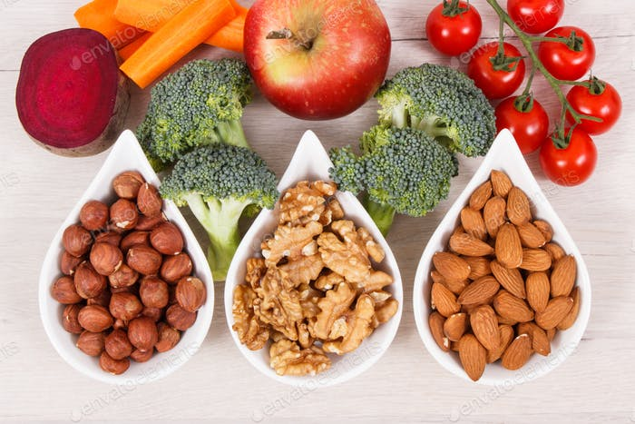 Healthy nutritious eating as source vitamin and minerals, food for brain health concept