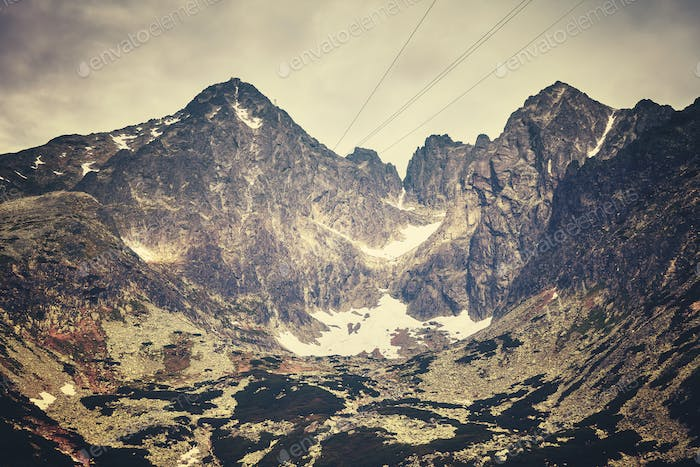 Color toned picture of Lomnicky peak, Slovakia.