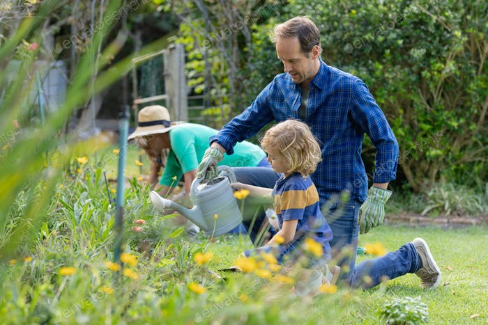 Caucasian father and son in garden watering plants and gardening with their family