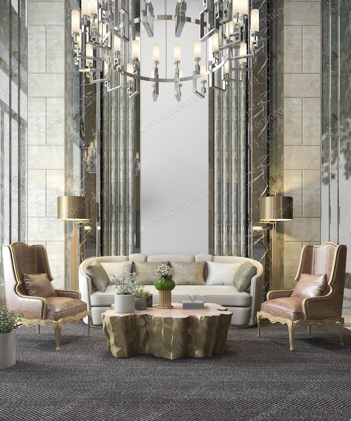 3D representación clásica sala de estar de lujo con lámpara de araña y decoración
