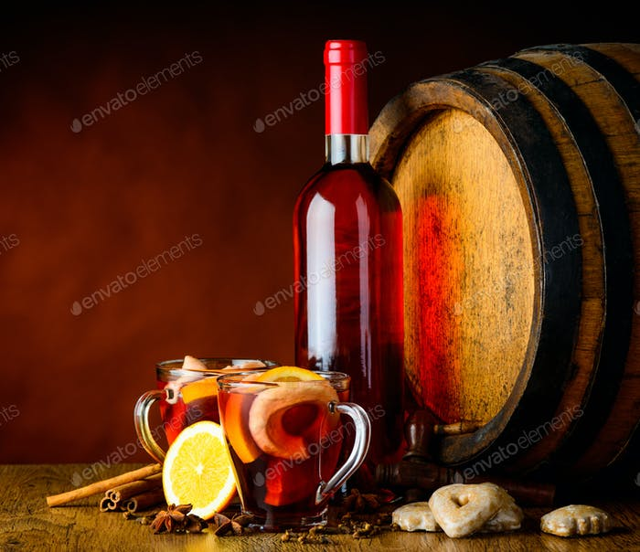 Mulled Wine in Rustic Still Life