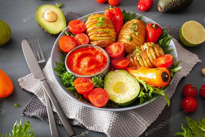 vegan buddha bowl. healthy lunch bowl with hasselback potato, av