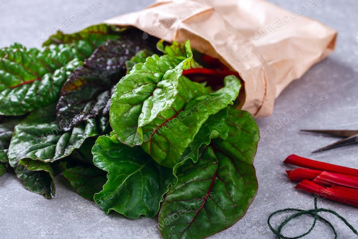 Chard Swiss  Fresh  green and red colored