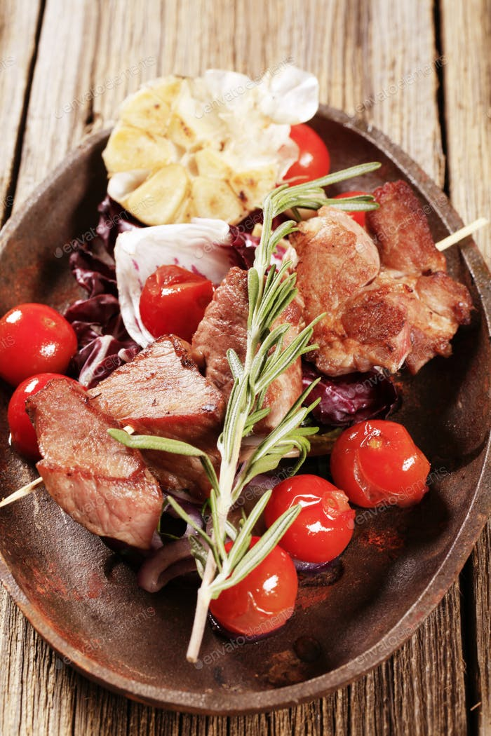 Shish kebab and vegetables