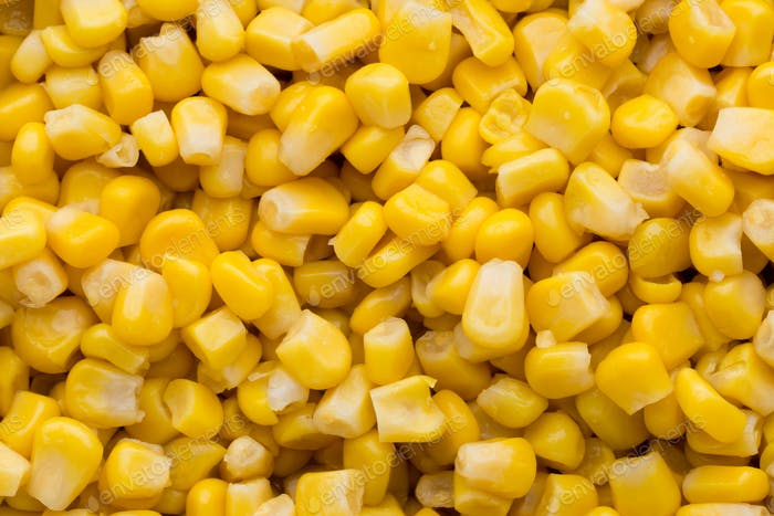 Bulk of yellow corn grains texture.