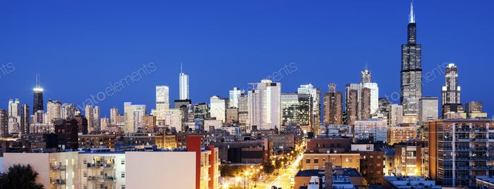 Blue evening in Chicago - view from the west side