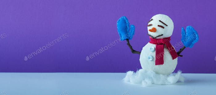 Funny snowman on violet blue background