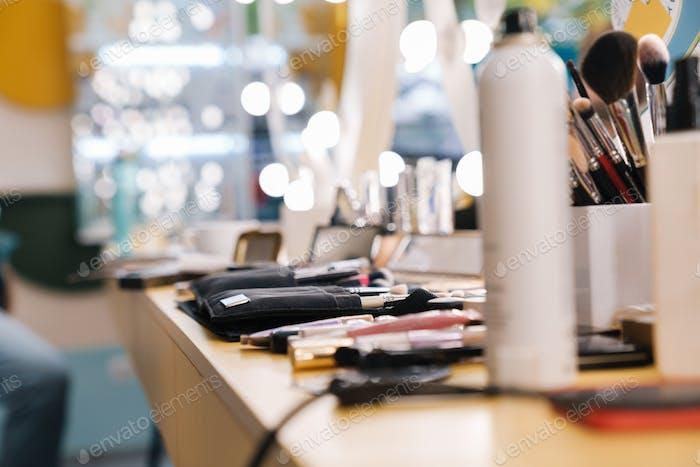 Close up of a makeup artists work place