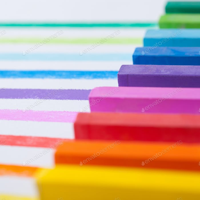 Colourful pastels closeup