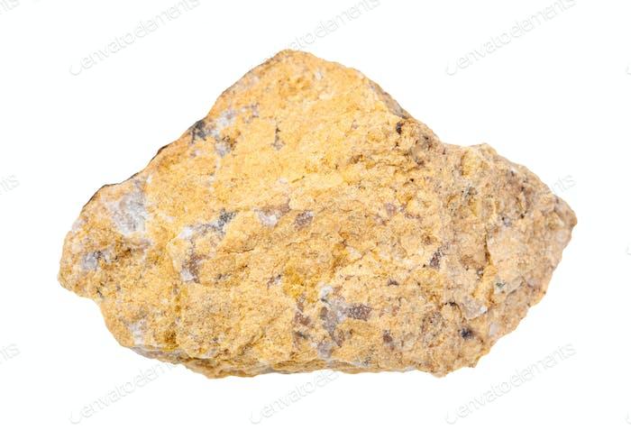 unpoliertes Narsarsukite Gestein isoliert auf weiß