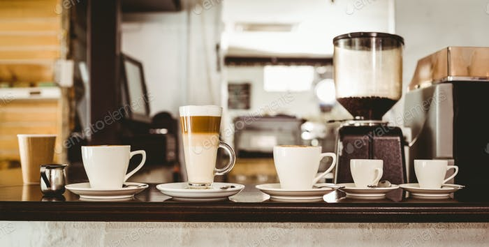 Selection of coffee on the counter at the coffee shop