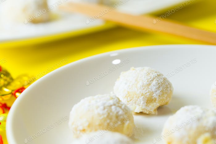 Homemade snow ball cookie